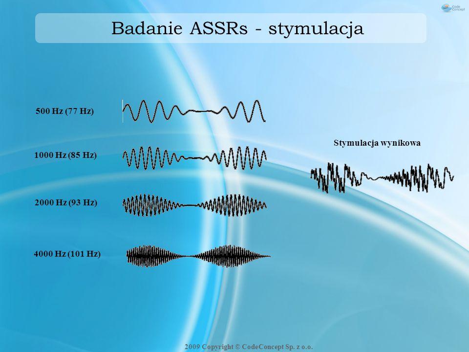 Badanie ASSRs - stymulacja 500 Hz (77 Hz) 1000 Hz (85 Hz) 2000 Hz (93 Hz) 4000 Hz (101 Hz) Stymulacja wynikowa 2009 Copyright © CodeConcept Sp. z o.o.