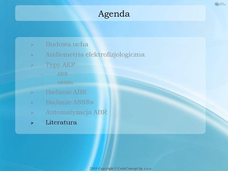 Agenda  Budowa ucha  Audiometria elektrofizjologiczna  Typy AEP ABR ASSRs  Badanie ABR  Badanie ASSRs  Automatyzacja ABR  Literatura 2009 Copyr