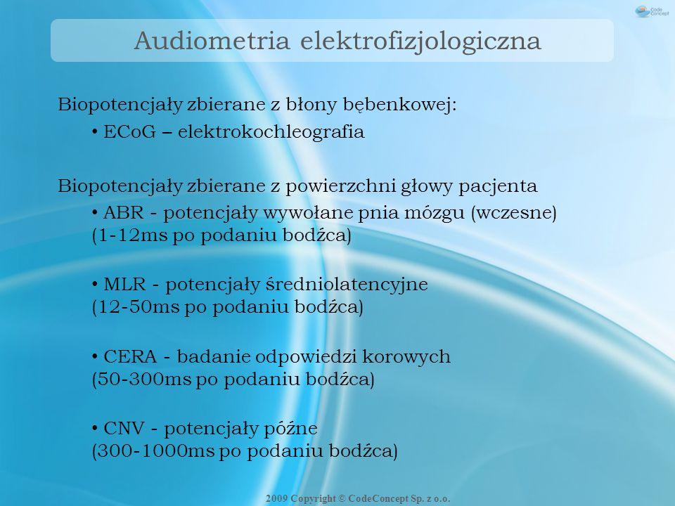 Badanie ASSRs - stymulacja 500 Hz (77 Hz) 1000 Hz (85 Hz) 2000 Hz (93 Hz) 4000 Hz (101 Hz) Stymulacja wynikowa 2009 Copyright © CodeConcept Sp.