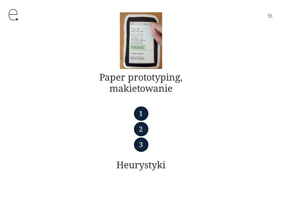 55 Paper prototyping, makietowanie Heurystyki 1 2 3