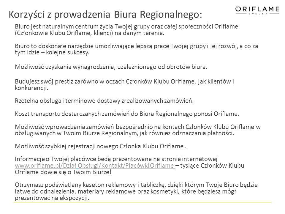 Zakres działań Biura Regionalnego: W Biurze Regionalnym można: Spotkać ludzi, którzy o Oriflame wiedzą naprawdę dużo i chętnie pomogą rozwiązać trudności pojawiające się w pracy Konsultanta.