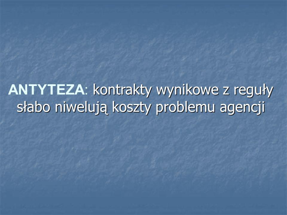kontrakty wynikowe z reguły słabo niwelują koszty problemu agencji ANTYTEZA: kontrakty wynikowe z reguły słabo niwelują koszty problemu agencji