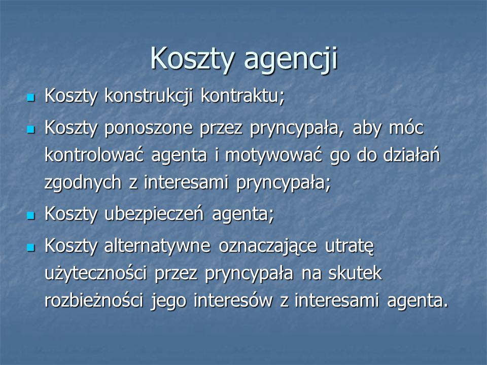 Koszty agencji Koszty konstrukcji kontraktu; Koszty konstrukcji kontraktu; Koszty ponoszone przez pryncypała, aby móc kontrolować agenta i motywować go do działań zgodnych z interesami pryncypała; Koszty ponoszone przez pryncypała, aby móc kontrolować agenta i motywować go do działań zgodnych z interesami pryncypała; Koszty ubezpieczeń agenta; Koszty ubezpieczeń agenta; Koszty alternatywne oznaczające utratę użyteczności przez pryncypała na skutek rozbieżności jego interesów z interesami agenta.