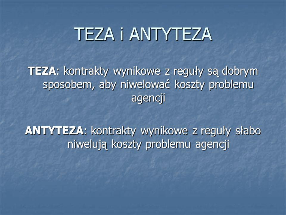 TEZA i ANTYTEZA TEZA: kontrakty wynikowe z reguły są dobrym sposobem, aby niwelować koszty problemu agencji ANTYTEZA: kontrakty wynikowe z reguły słabo niwelują koszty problemu agencji
