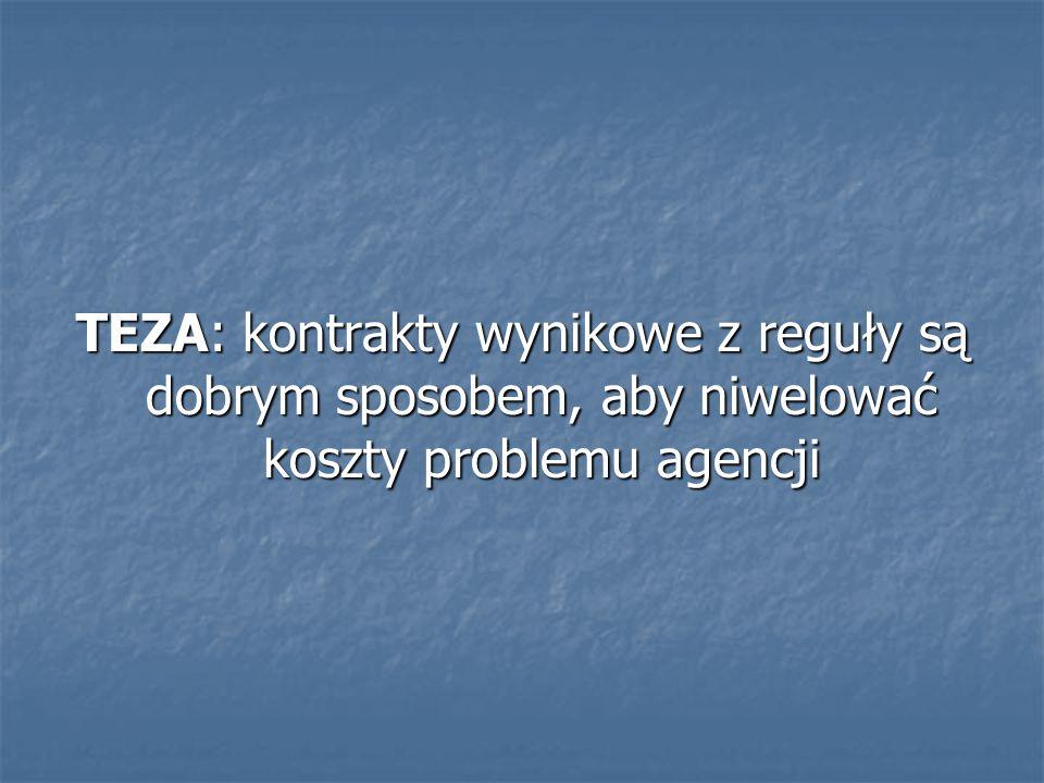 TEZA: kontrakty wynikowe z reguły są dobrym sposobem, aby niwelować koszty problemu agencji