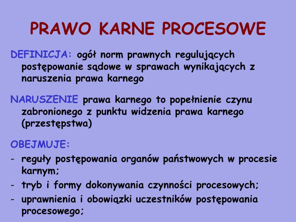 PRAWO KARNE PROCESOWE DEFINICJA: ogół norm prawnych regulujących postępowanie sądowe w sprawach wynikających z naruszenia prawa karnego NARUSZENIE prawa karnego to popełnienie czynu zabronionego z punktu widzenia prawa karnego (przestępstwa) OBEJMUJE: -reguły postępowania organów państwowych w procesie karnym; -tryb i formy dokonywania czynności procesowych; -uprawnienia i obowiązki uczestników postępowania procesowego;