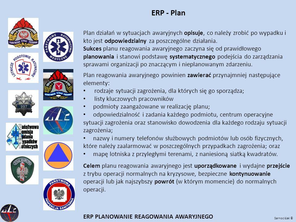 Sarnoci ń ski ® ERP - Plan ERP PLANOWANIE REAGOWANIA AWARYJNEGO Plan reagowania awaryjnego powinien zawierać przynajmniej następujące elementy: rodzaj