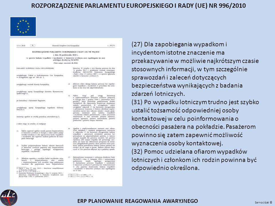 Sarnoci ń ski ® ERP PLANOWANIE REAGOWANIA AWARYJNEGO ROZPORZĄDZENIE PARLAMENTU EUROPEJSKIEGO I RADY (UE) NR 996/2010 (27) Dla zapobiegania wypadkom i