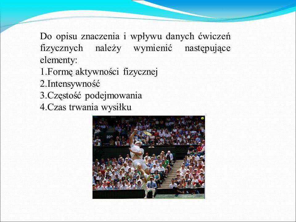 Do opisu znaczenia i wpływu danych ćwiczeń fizycznych należy wymienić następujące elementy: 1.Formę aktywności fizycznej 2.Intensywność 3.Częstość podejmowania 4.Czas trwania wysiłku