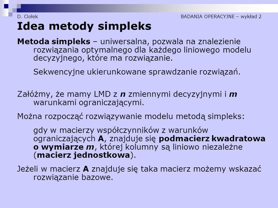 D. Ciołek BADANIA OPERACYJNE – wykład 2 Idea metody simpleks Metoda simpleks – uniwersalna, pozwala na znalezienie rozwiązania optymalnego dla każdego