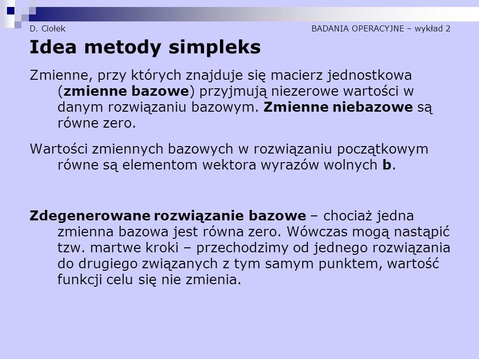 D. Ciołek BADANIA OPERACYJNE – wykład 2 Idea metody simpleks Zmienne, przy których znajduje się macierz jednostkowa (zmienne bazowe) przyjmują niezero