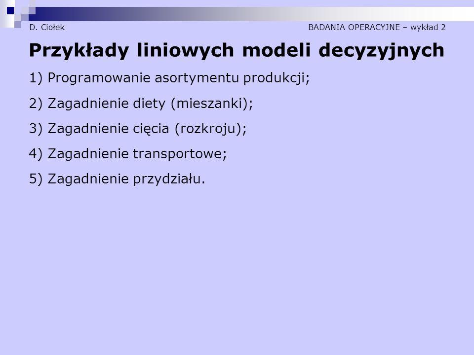 D. Ciołek BADANIA OPERACYJNE – wykład 2 Przykłady liniowych modeli decyzyjnych 1) Programowanie asortymentu produkcji; 2) Zagadnienie diety (mieszanki