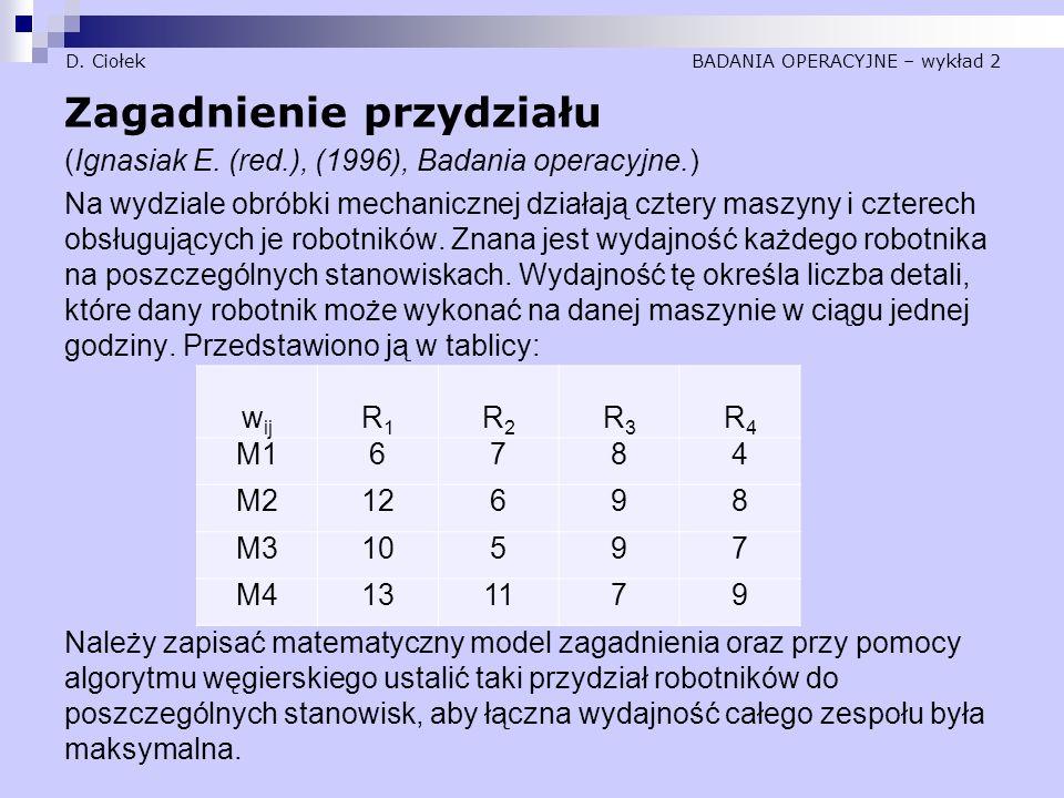 D. Ciołek BADANIA OPERACYJNE – wykład 2 Zagadnienie przydziału (Ignasiak E. (red.), (1996), Badania operacyjne.) Na wydziale obróbki mechanicznej dzia