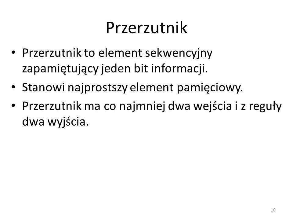 Przerzutnik Przerzutnik to element sekwencyjny zapamiętujący jeden bit informacji. Stanowi najprostszy element pamięciowy. Przerzutnik ma co najmniej