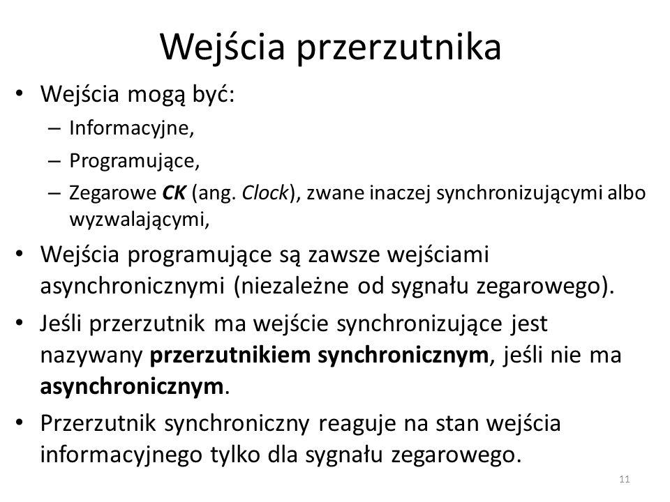 Wejścia przerzutnika Wejścia mogą być: – Informacyjne, – Programujące, – Zegarowe CK (ang. Clock), zwane inaczej synchronizującymi albo wyzwalającymi,