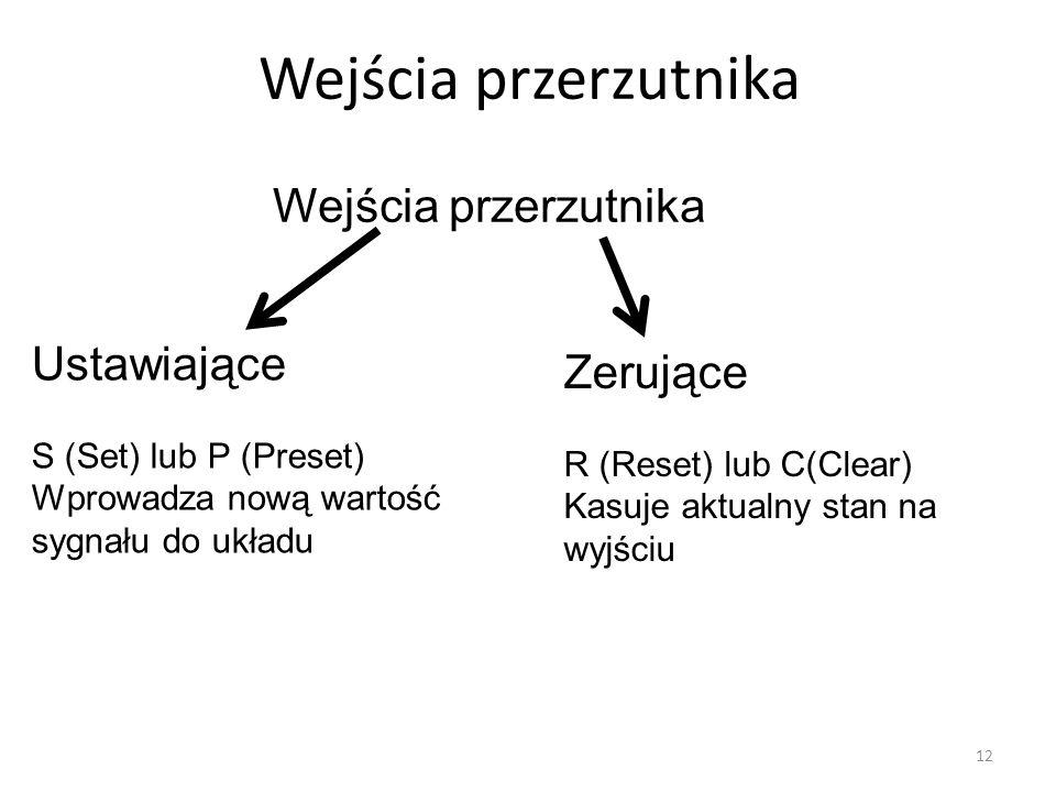 Wejścia przerzutnika 12 Wejścia przerzutnika Ustawiające S (Set) lub P (Preset) Wprowadza nową wartość sygnału do układu Zerujące R (Reset) lub C(Clear) Kasuje aktualny stan na wyjściu