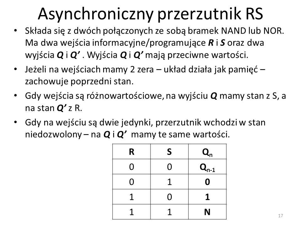Asynchroniczny przerzutnik RS Składa się z dwóch połączonych ze sobą bramek NAND lub NOR. Ma dwa wejścia informacyjne/programujące R i S oraz dwa wyjś