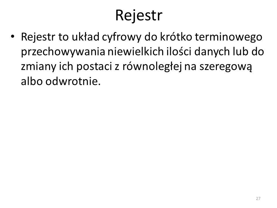 Rejestr Rejestr to układ cyfrowy do krótko terminowego przechowywania niewielkich ilości danych lub do zmiany ich postaci z równoległej na szeregową albo odwrotnie.