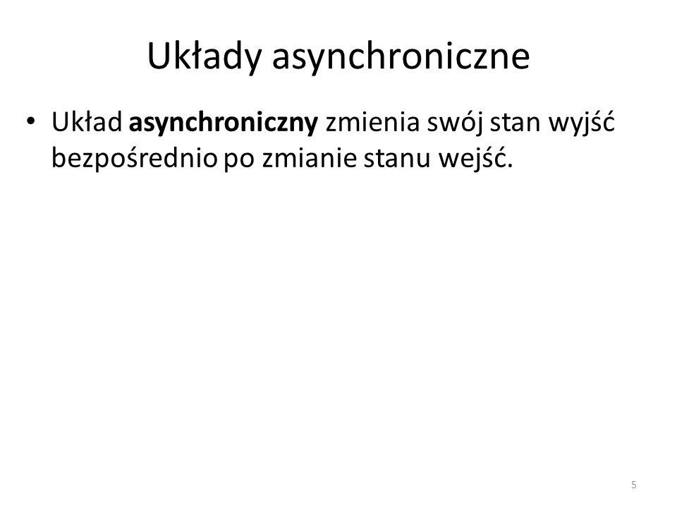 Praca układu synchronicznego W układzie synchronicznym wejście oddziałuje na wyjście wyłącznie w wybranych odcinkach czasu pracy.