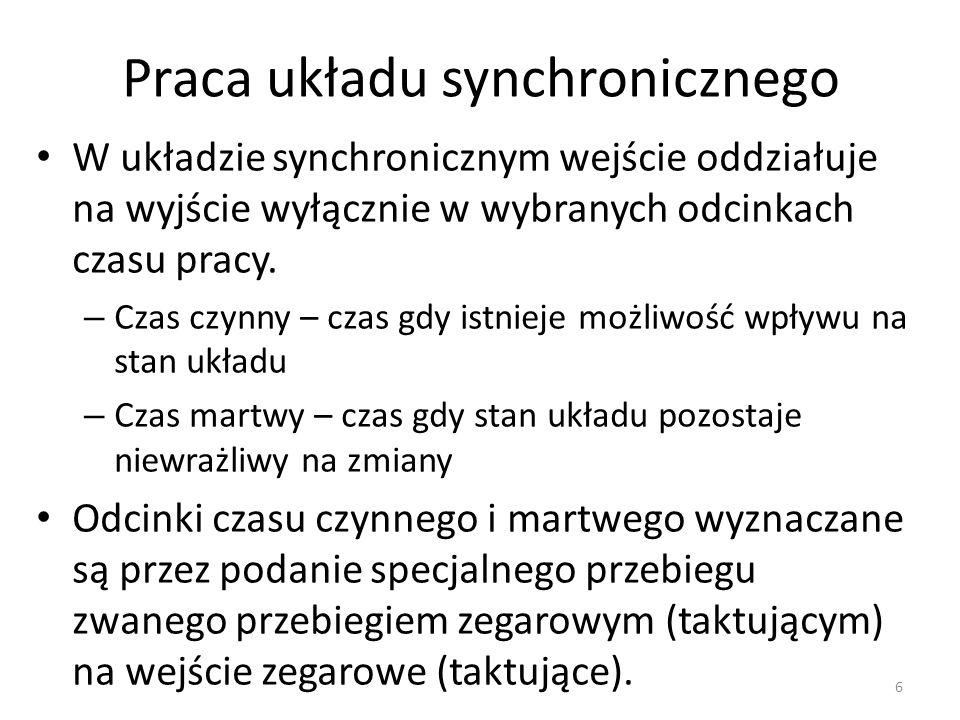 Praca układu synchronicznego W układzie synchronicznym wejście oddziałuje na wyjście wyłącznie w wybranych odcinkach czasu pracy. – Czas czynny – czas