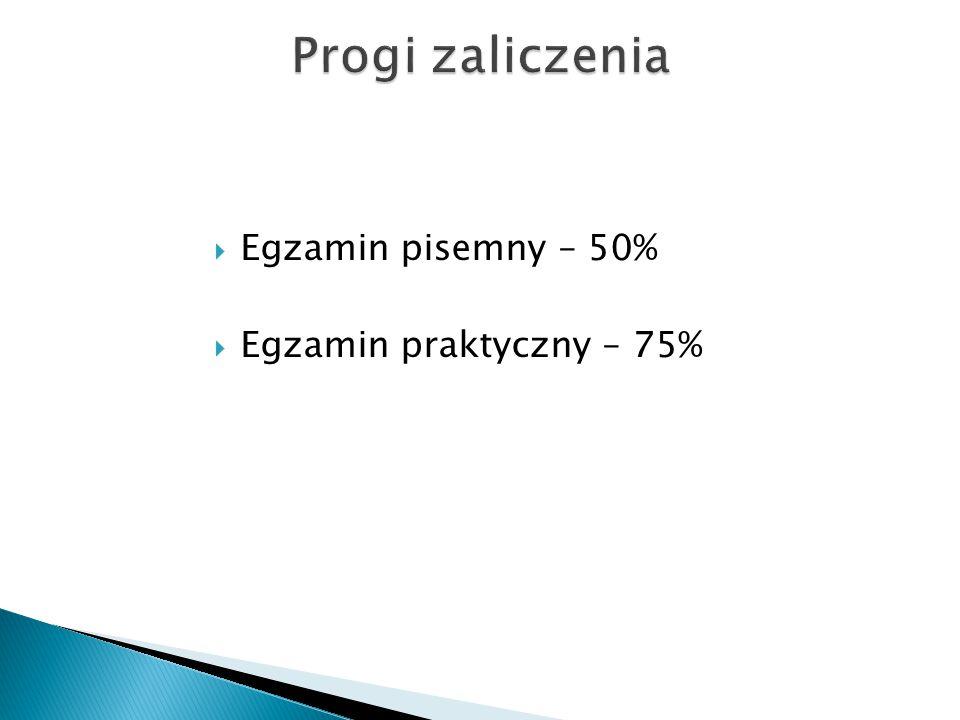  Egzamin pisemny – 50%  Egzamin praktyczny – 75%