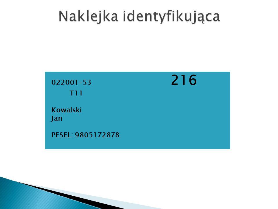 022001-53 216 T11 Kowalski Jan PESEL: 9805172878