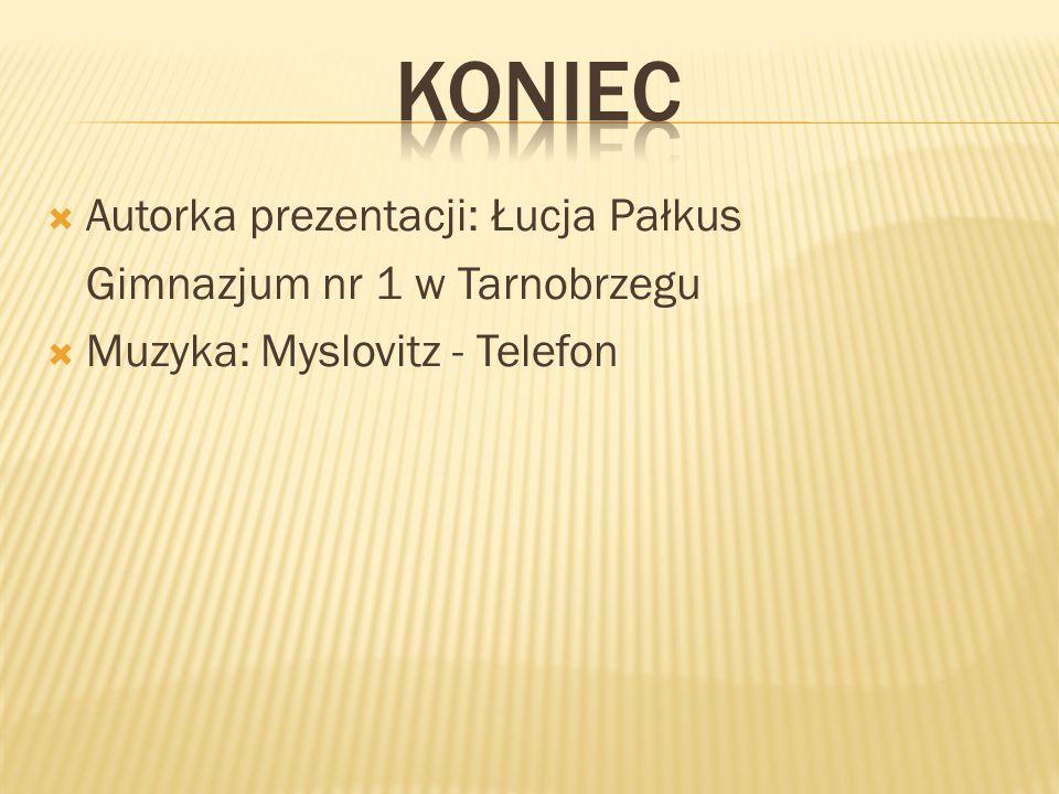  Autorka prezentacji: Łucja Pałkus Gimnazjum nr 1 w Tarnobrzegu  Muzyka: Myslovitz - Telefon