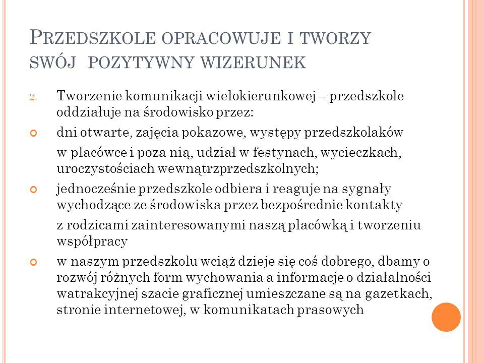 P RZEDSZKOLE OPRACOWUJE I TWORZY SWÓJ POZYTYWNY WIZERUNEK 2.