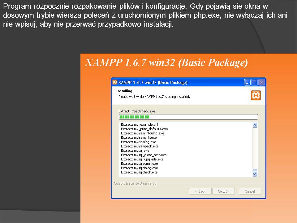 Program rozpocznie rozpakowanie plików i konfigurację.
