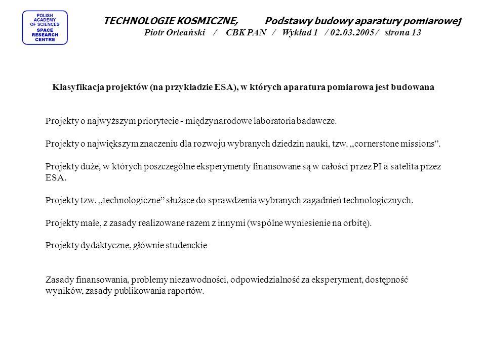 TECHNOLOGIE KOSMICZNE, Podstawy budowy aparatury pomiarowej Piotr Orleański / CBK PAN / Wykład 1 / 02.03.2005 / strona 13 Klasyfikacja projektów (na przykładzie ESA), w których aparatura pomiarowa jest budowana Projekty o najwyższym priorytecie - międzynarodowe laboratoria badawcze.
