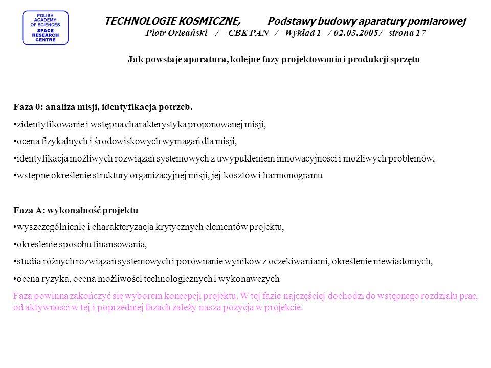 TECHNOLOGIE KOSMICZNE, Podstawy budowy aparatury pomiarowej Piotr Orleański / CBK PAN / Wykład 1 / 02.03.2005 / strona 17 Jak powstaje aparatura, kolejne fazy projektowania i produkcji sprzętu Faza 0: analiza misji, identyfikacja potrzeb.