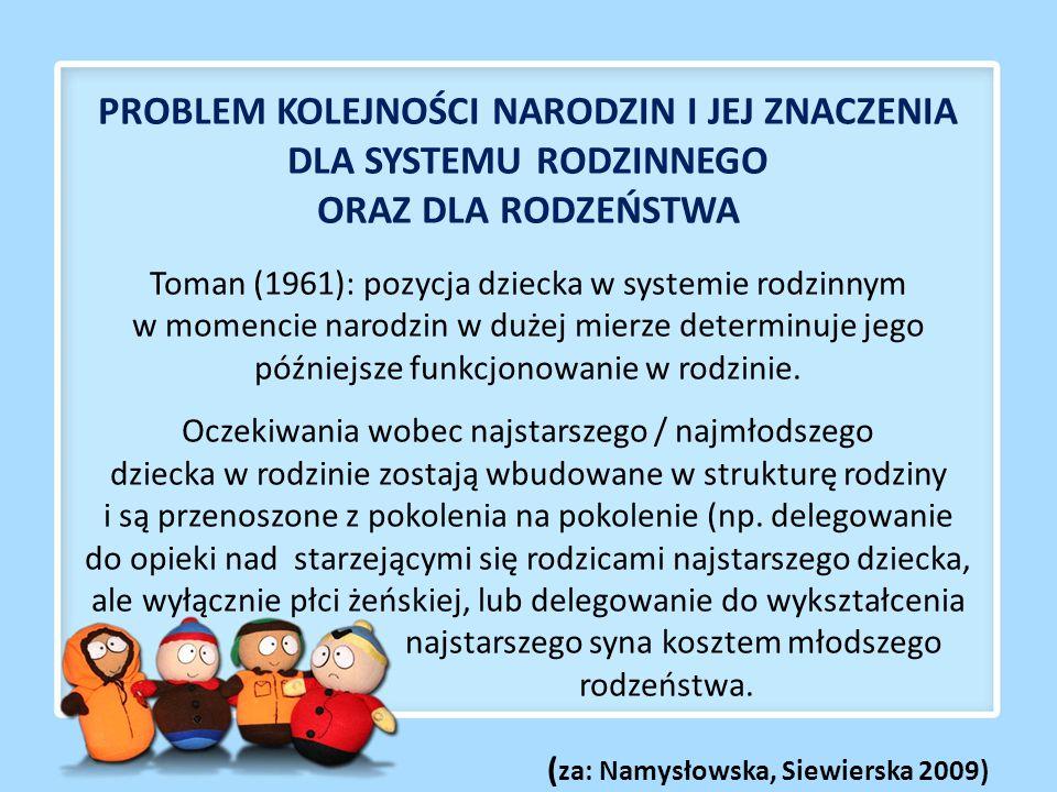 PROBLEM KOLEJNOŚCI NARODZIN I JEJ ZNACZENIA DLA SYSTEMU RODZINNEGO ORAZ DLA RODZEŃSTWA Toman (1961): pozycja dziecka w systemie rodzinnym w momencie narodzin w dużej mierze determinuje jego późniejsze funkcjonowanie w rodzinie.