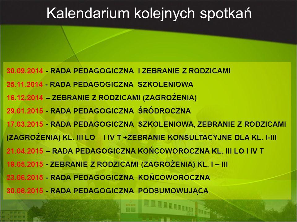 Kalendarium roku szkolnego DATA WYDARZENIE 1.09.2014rRozpoczęcie roku szkolnego godz.