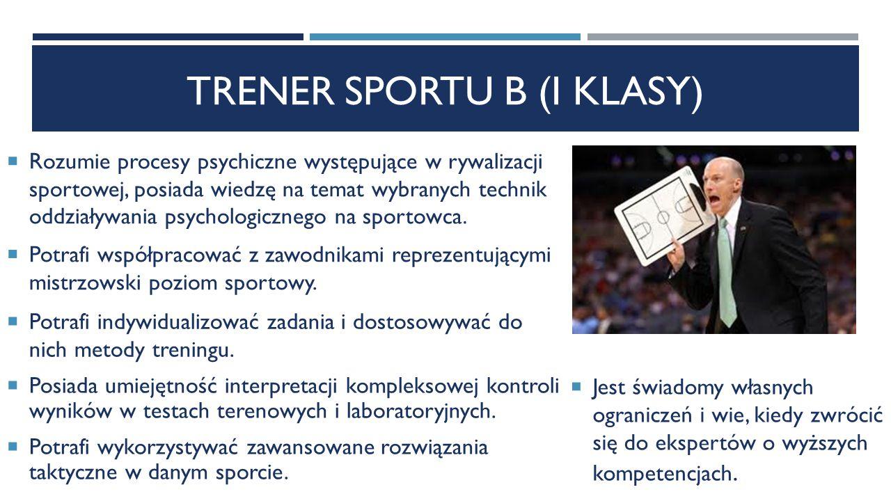 TRENER SPORTU B (I KLASY)  Rozumie procesy psychiczne występujące w rywalizacji sportowej, posiada wiedzę na temat wybranych technik oddziaływania psychologicznego na sportowca.