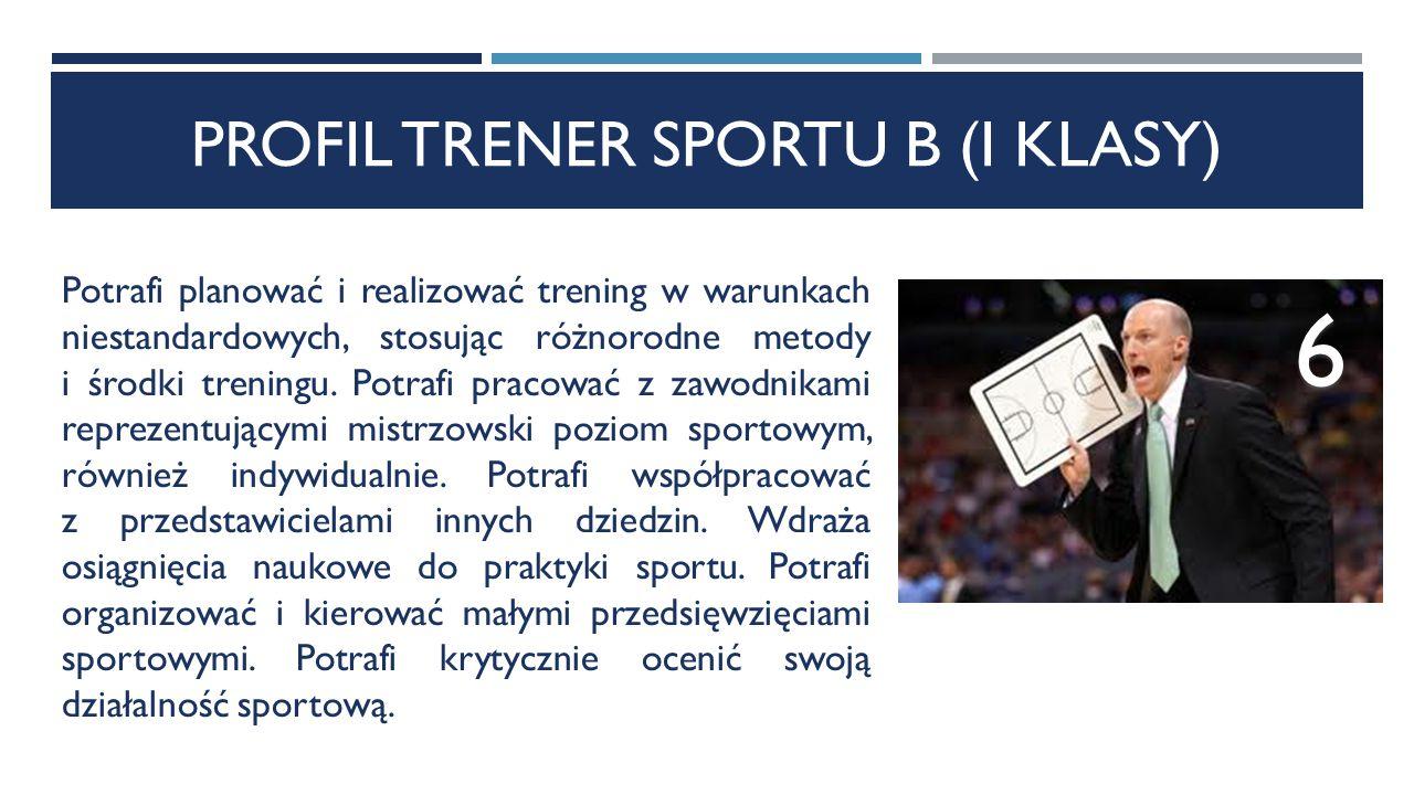 PROFIL TRENER SPORTU B (I KLASY) Potrafi planować i realizować trening w warunkach niestandardowych, stosując różnorodne metody i środki treningu.