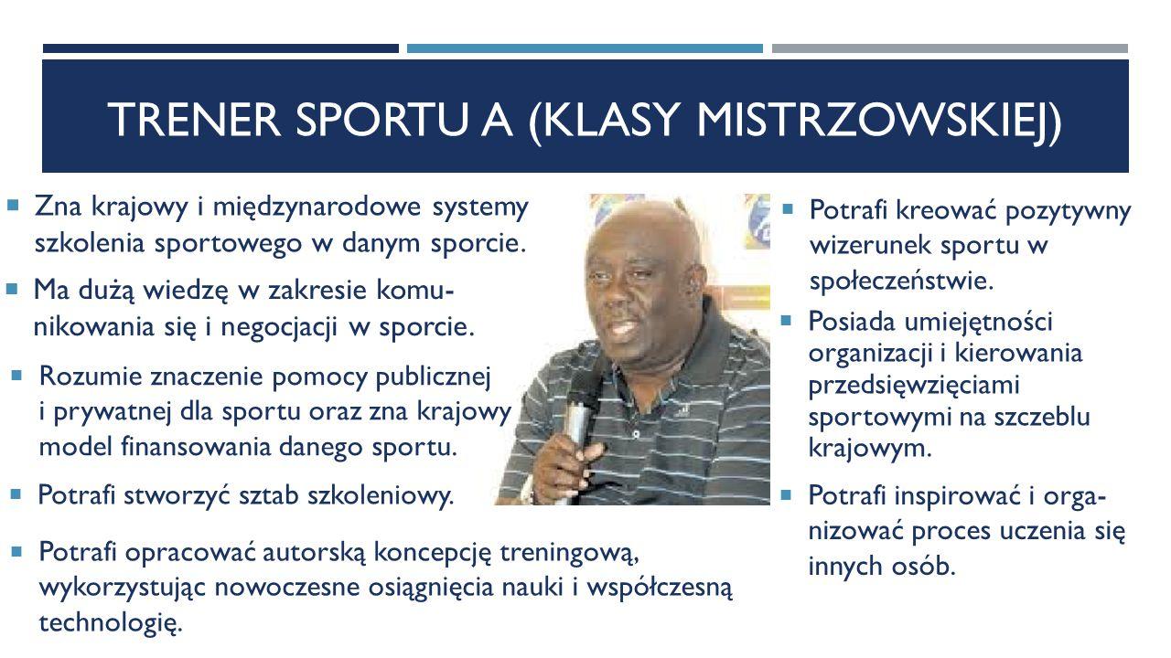 TRENER SPORTU A (KLASY MISTRZOWSKIEJ)  Zna krajowy i międzynarodowe systemy szkolenia sportowego w danym sporcie.