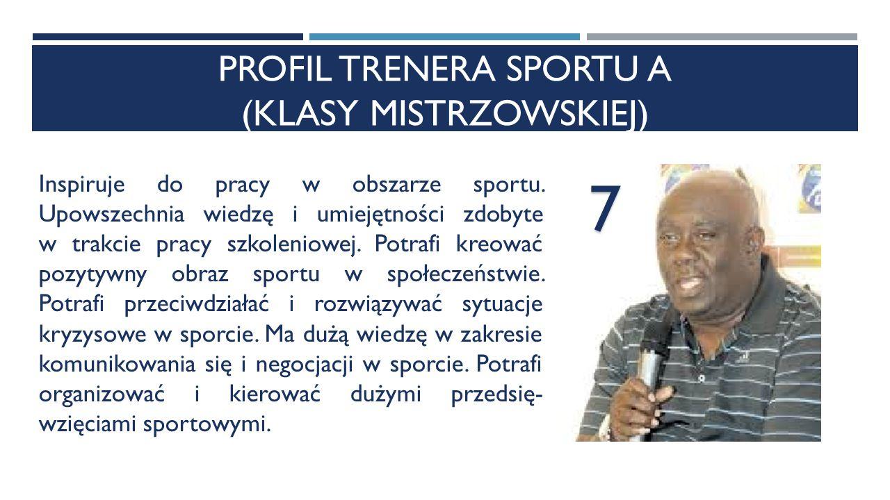 PROFIL TRENERA SPORTU A (KLASY MISTRZOWSKIEJ) Inspiruje do pracy w obszarze sportu.