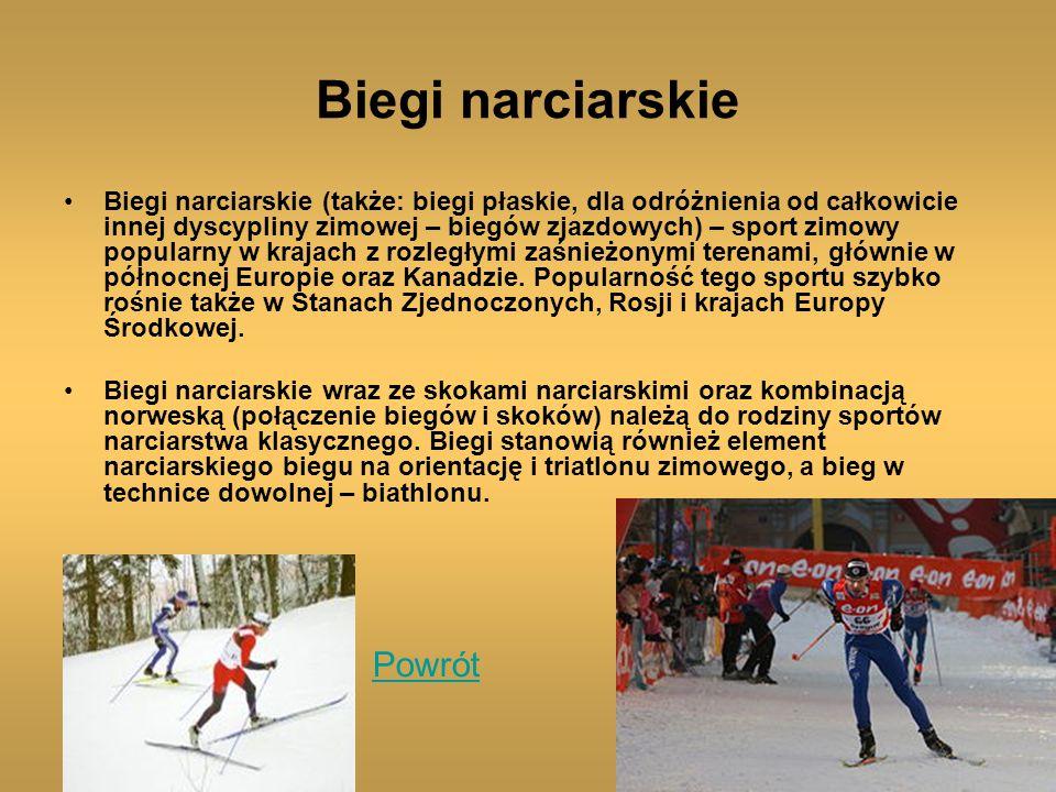 Biegi narciarskie Biegi narciarskie (także: biegi płaskie, dla odróżnienia od całkowicie innej dyscypliny zimowej – biegów zjazdowych) – sport zimowy popularny w krajach z rozległymi zaśnieżonymi terenami, głównie w północnej Europie oraz Kanadzie.