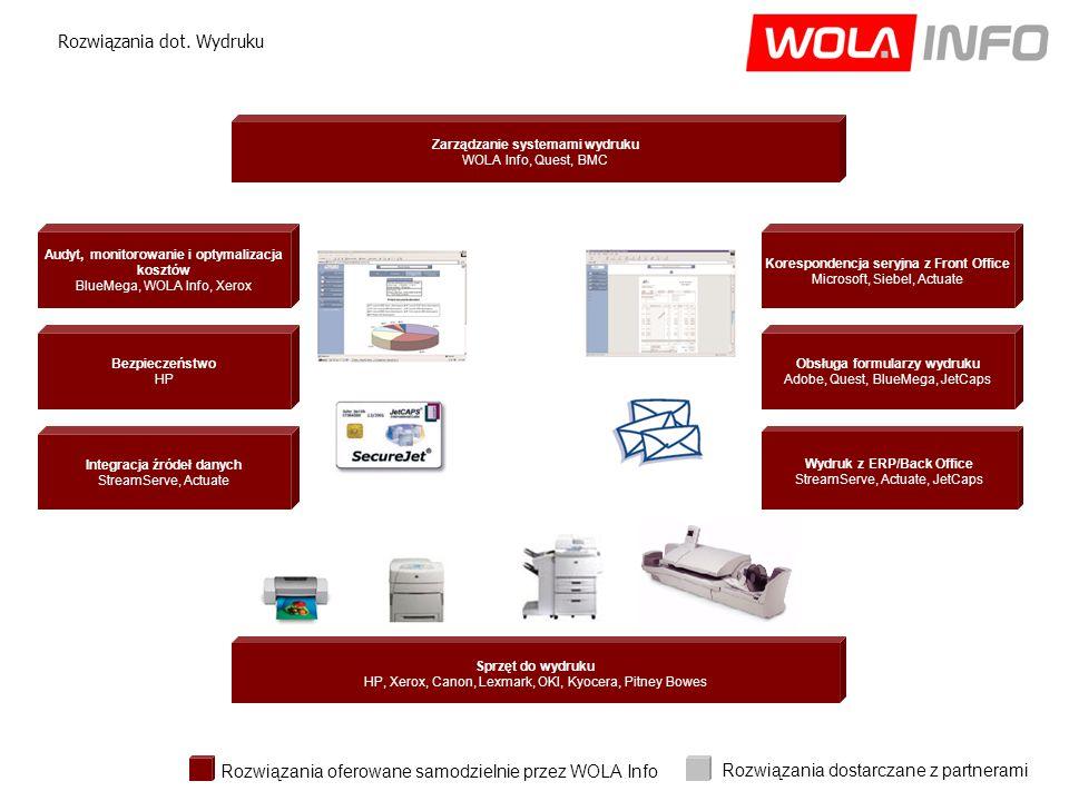 Bezpieczeństwo HP Wydruk z ERP/Back Office StreamServe, Actuate, JetCaps Korespondencja seryjna z Front Office Microsoft, Siebel, Actuate Audyt, monitorowanie i optymalizacja kosztów BlueMega, WOLA Info, Xerox Sprzęt do wydruku HP, Xerox, Canon, Lexmark, OKI, Kyocera, Pitney Bowes Integracja źródeł danych StreamServe, Actuate Obsługa formularzy wydruku Adobe, Quest, BlueMega, JetCaps Rozwiązania dot.