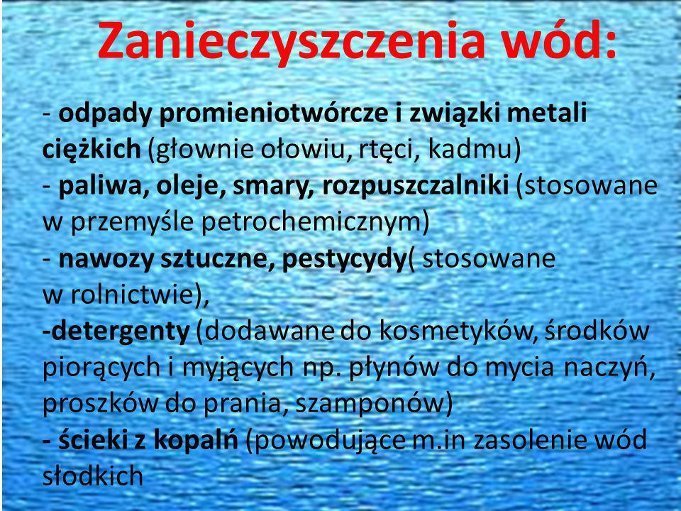 Zanieczyszczenia wód: - odpady promieniotwórcze i związki metali ciężkich (głownie ołowiu, rtęci, kadmu) - paliwa, oleje, smary, rozpuszczalniki (stos
