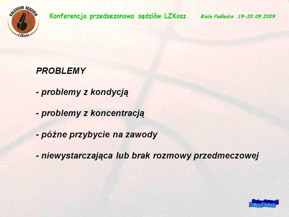 Mariusz Nawrocki PROBLEMY - problemy z kondycją - problemy z koncentracją - późne przybycie na zawody - niewystarczająca lub brak rozmowy przedmeczowe