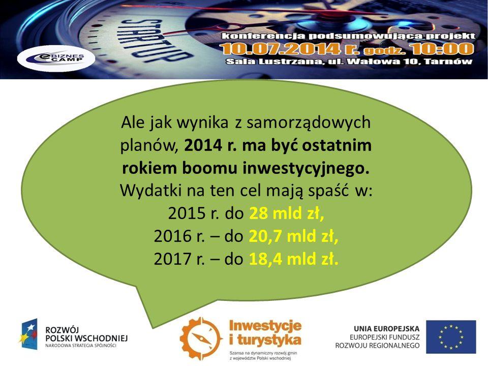 Ale jak wynika z samorządowych planów, 2014 r. ma być ostatnim rokiem boomu inwestycyjnego. Wydatki na ten cel mają spaść w: 2015 r. do 28 mld zł, 201