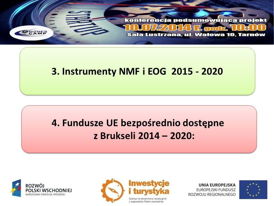 3. Instrumenty NMF i EOG 2015 - 2020 4. Fundusze UE bezpośrednio dostępne z Brukseli 2014 – 2020: