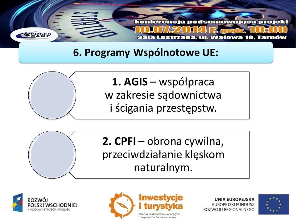 6. Programy Wspólnotowe UE: 1. AGIS – współpraca w zakresie sądownictwa i ścigania przestępstw. 2. CPFI – obrona cywilna, przeciwdziałanie klęskom nat