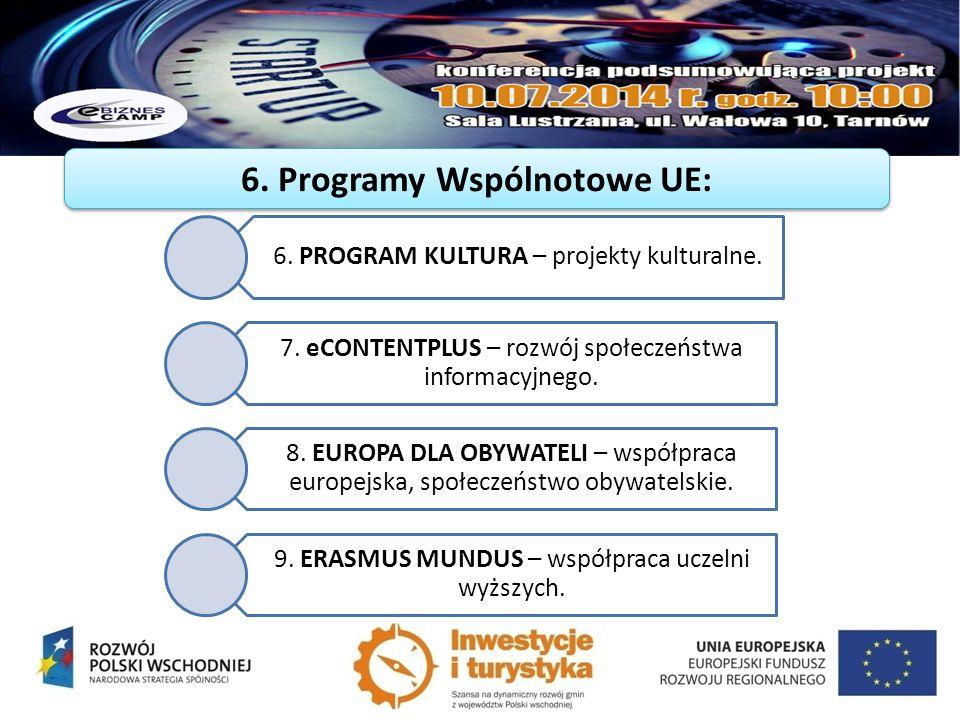6. PROGRAM KULTURA – projekty kulturalne. 7. eCONTENTPLUS – rozwój społeczeństwa informacyjnego. 8. EUROPA DLA OBYWATELI – współpraca europejska, społ