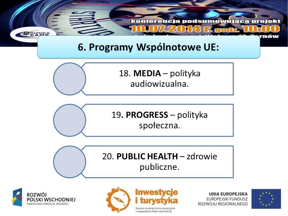 18. MEDIA – polityka audiowizualna. 19. PROGRESS – polityka społeczna. 20. PUBLIC HEALTH – zdrowie publiczne.