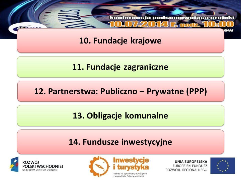 10. Fundacje krajowe 11. Fundacje zagraniczne 12. Partnerstwa: Publiczno – Prywatne (PPP) 13. Obligacje komunalne 14. Fundusze inwestycyjne