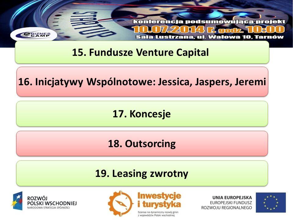 15. Fundusze Venture Capital 16. Inicjatywy Wspólnotowe: Jessica, Jaspers, Jeremi 17. Koncesje 18. Outsorcing 19. Leasing zwrotny