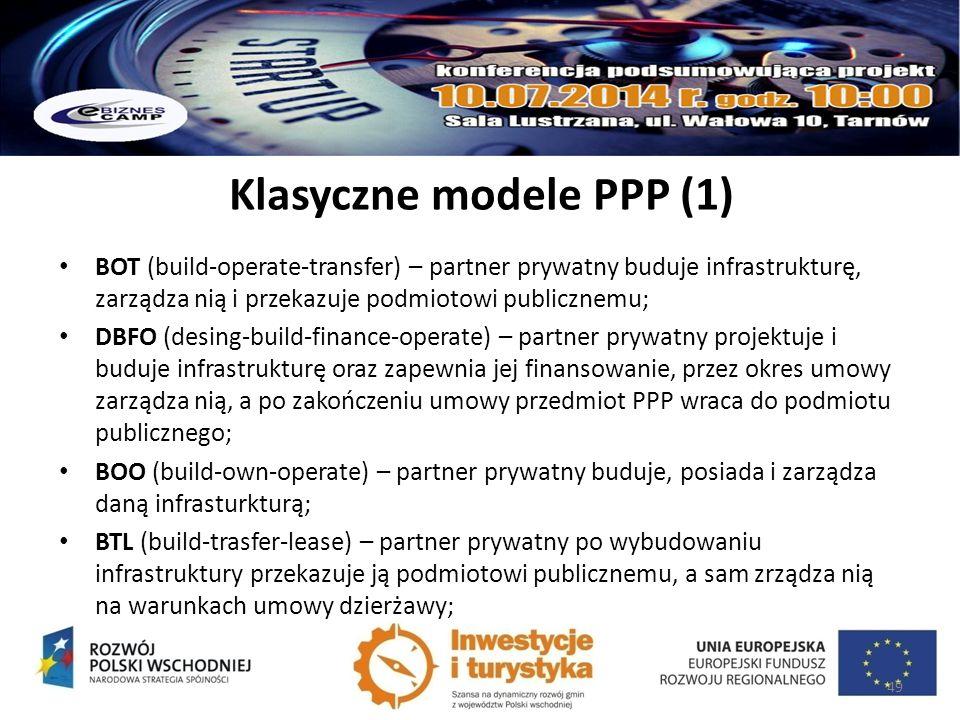 Klasyczne modele PPP (1) BOT (build-operate-transfer) – partner prywatny buduje infrastrukturę, zarządza nią i przekazuje podmiotowi publicznemu; DBFO