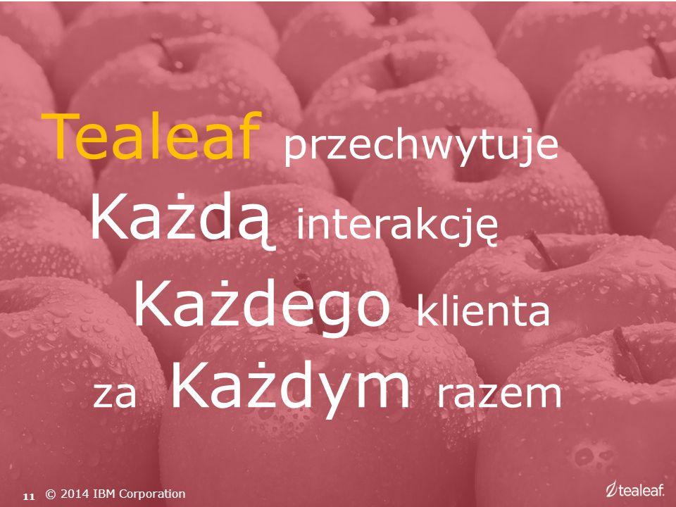 Tealeaf przechwytuje Każdego klienta Każdą interakcję za Każdym razem 11 © 2014 IBM Corporation